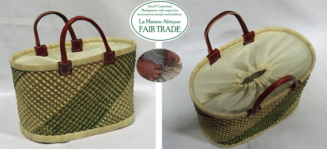 fairtrade basket with lining and pull-string close
